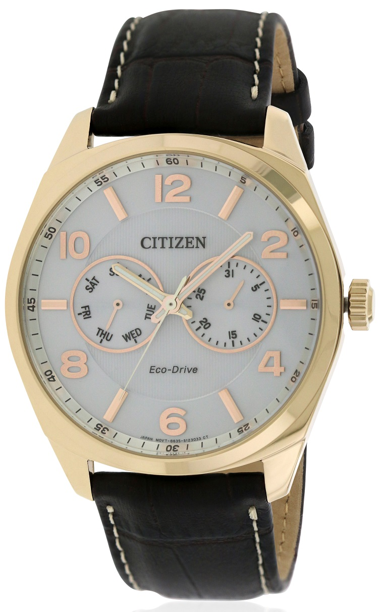 citizen eco drive gold tone leather mens ao9023 01a